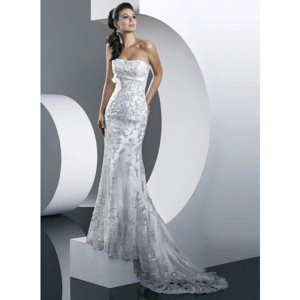 Sheath Sweet Heart Floor Length Lace Train Wedding Dress Found On Polyvore