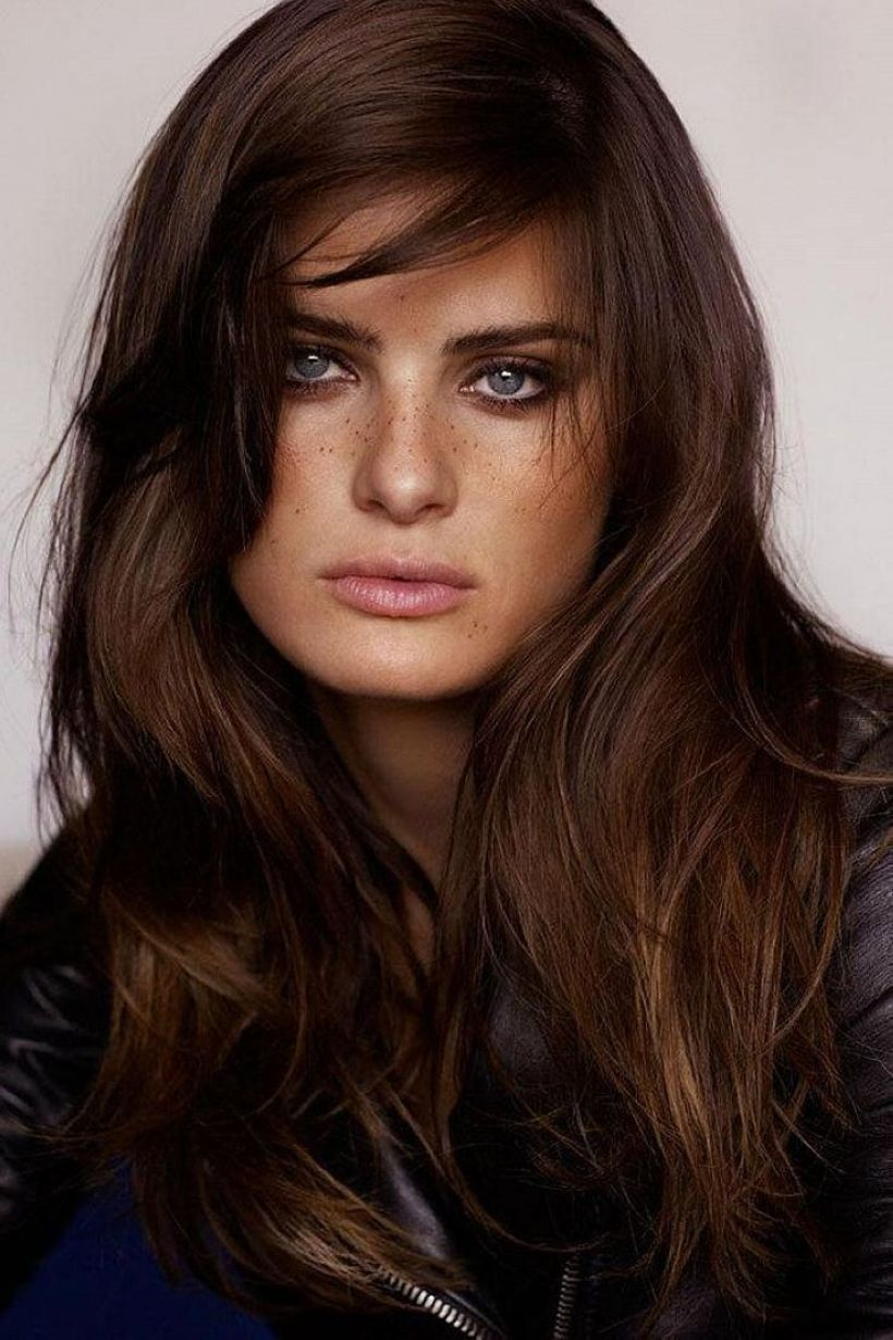 For your layered dark black hair you may use chocolate brown color