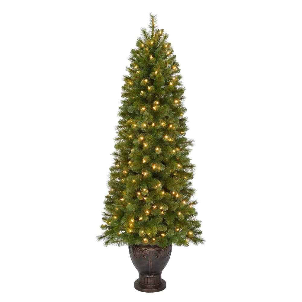 home accents holiday 65 ft pre lit led wesley spruce artificial christmas potted tree with warm white lights
