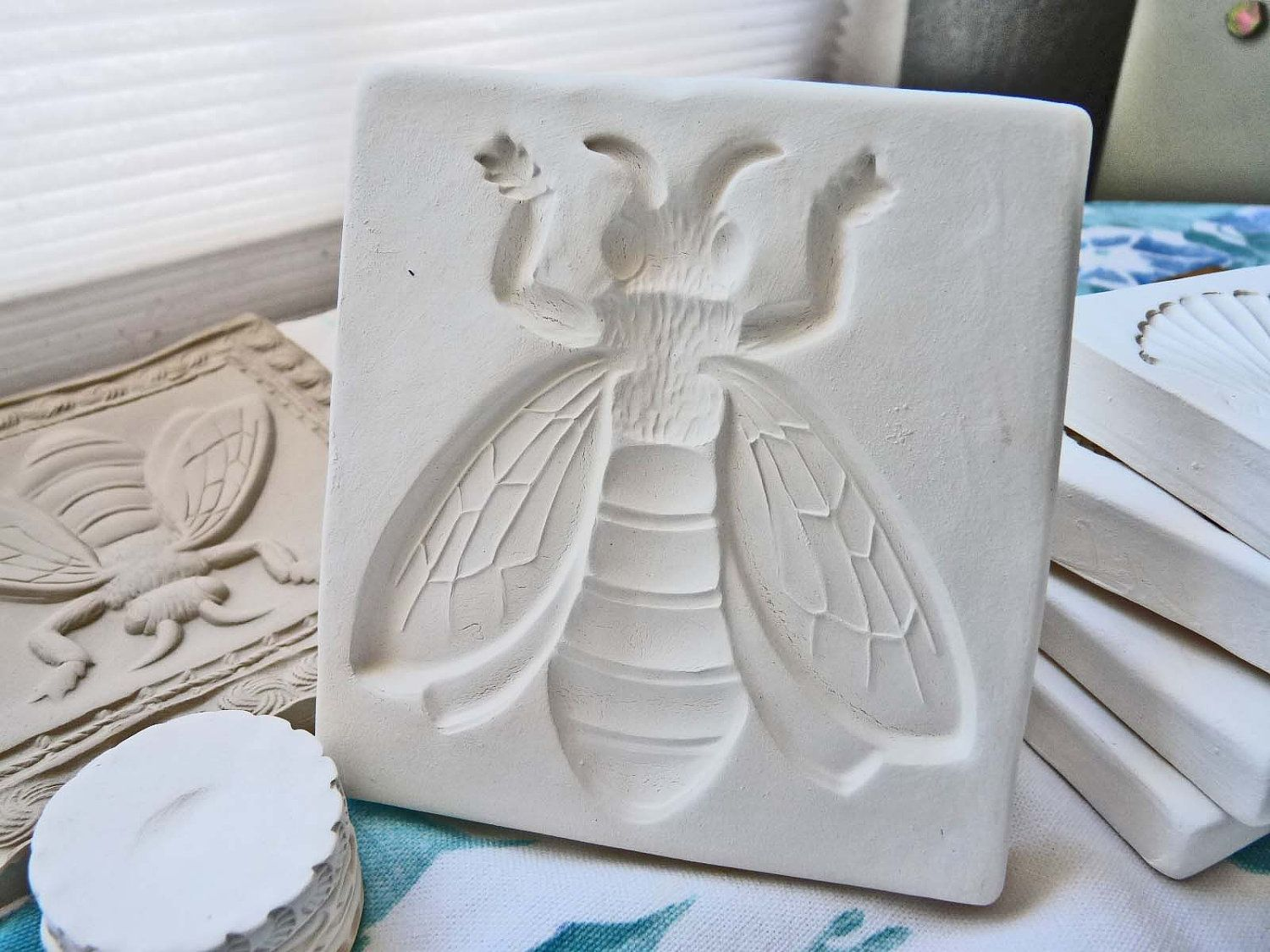 Clay Stamp Honey Bee Pottery Press Mold Relief Or Sprig Bisque For