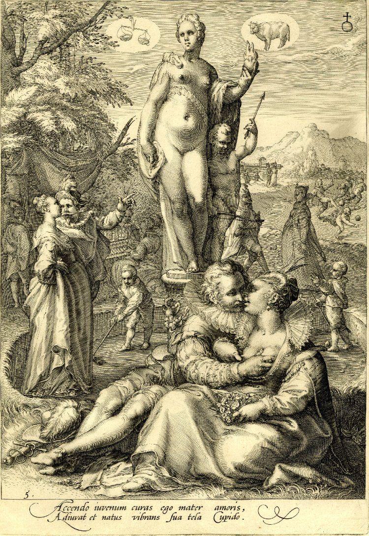 HK: British Museum Goltzius, Venus houdt een vlammend hart vast, diverse liefdes- en wedstrijdscenario's: weegschaal, stier bovenin