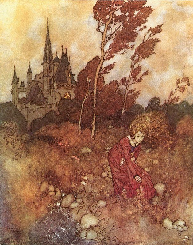 """""""The Wind's Tale: I used to meet her in the garden"""" Edmund Dulac"""