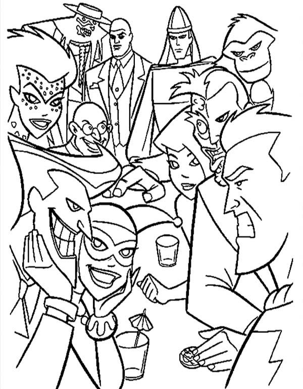 Batman Vs Villains In Super Hero Squad Coloring Page Netart Super Coloring Pages Superman Coloring Pages Batman Coloring Pages