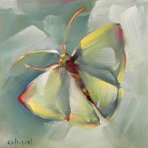 """Green Moth"" - Original Fine Art for Sale - © Cheryl Wilson"