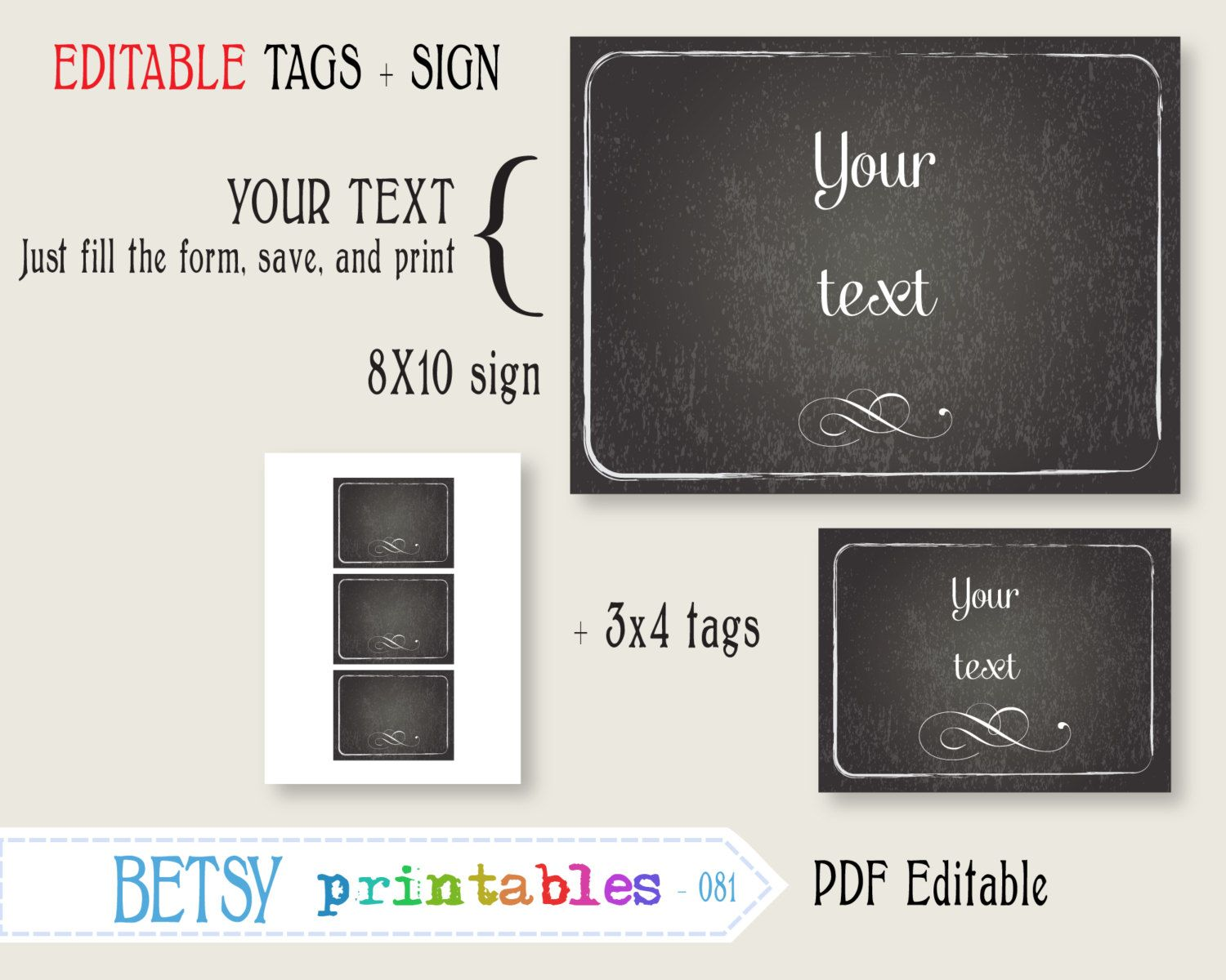 editable chalkboard sign and tags printable digital sign instant