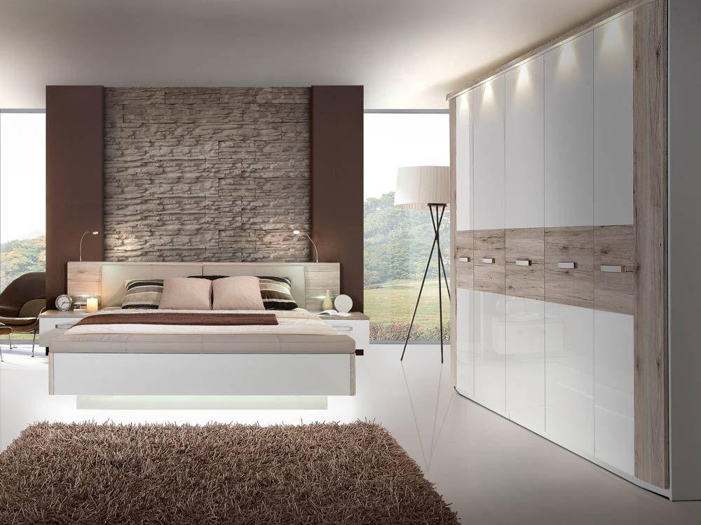 Schlafzimmer in Sandeiche-NB mit Abs in weiss Hochglanz - schlafzimmer weiss hochglanz