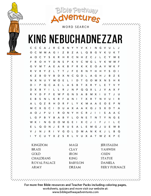 King Nebuchadnezzar Bible Activities For Kids Bible Lessons For Kids Bible Word Searches