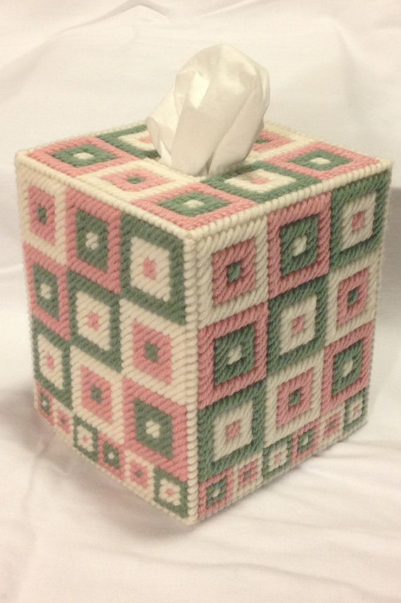 Granny Square Faux Crochet Tissue Box Cover In By