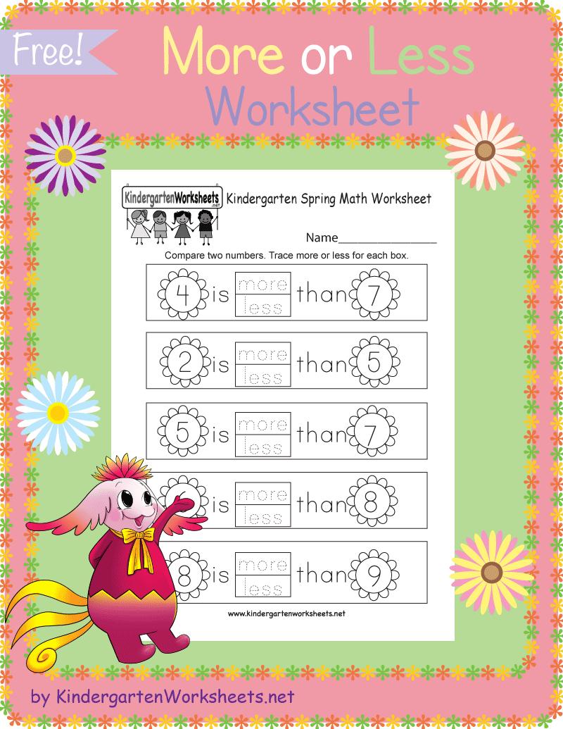 Kindergarten Spring More Or Less Worksheet Kindergarten Math Worksheets Kindergarten Math Worksheets Free Spring Math Worksheets [ 1035 x 800 Pixel ]
