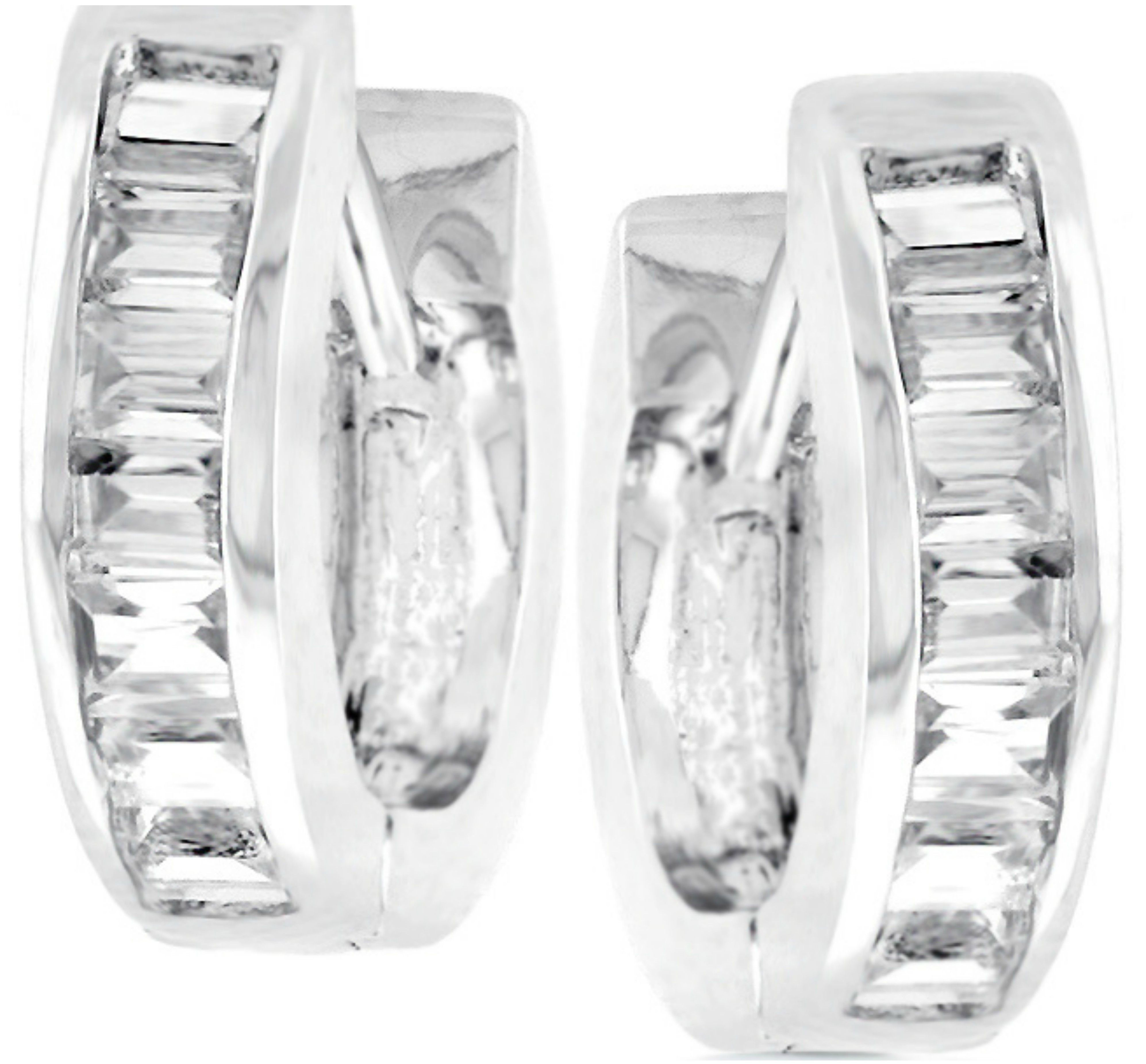 14k White Gold Channel Round Cubic Zirconia Huggies Earrings 22mm