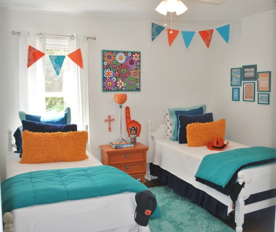 Exciting Boys Room Ideas Shared Kids Bedroom With Double Bed White ...