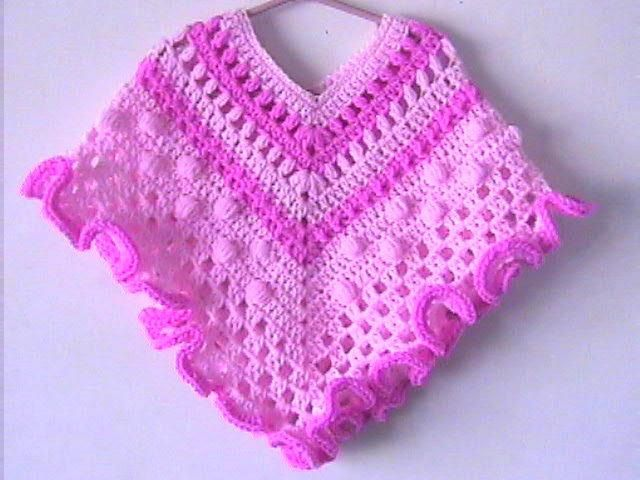 Toddler Girl Poncho Crochet Pattern Granny Ruffle Pink Beautiful