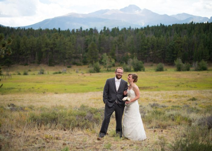Rocky Mountain National Park Wedding Bride Looking at Groom