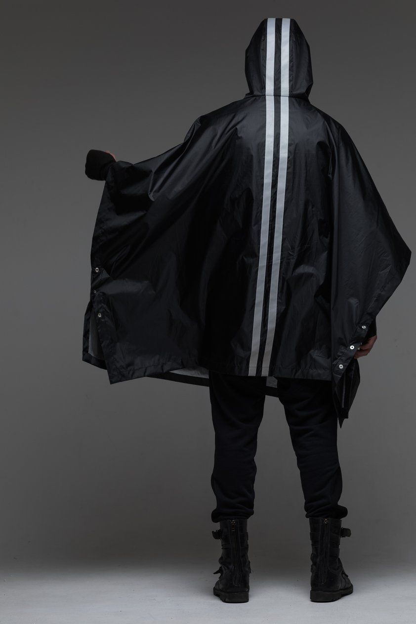 Poncho hooded camping cape Black