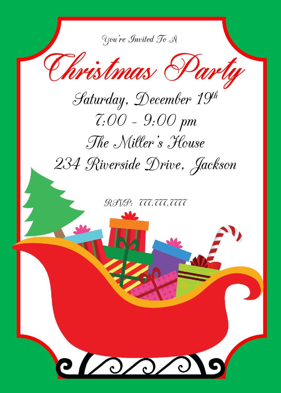 DIY PRINTABLE Christmas Party Invitation| Santa\'s Sleigh | Ornament ...