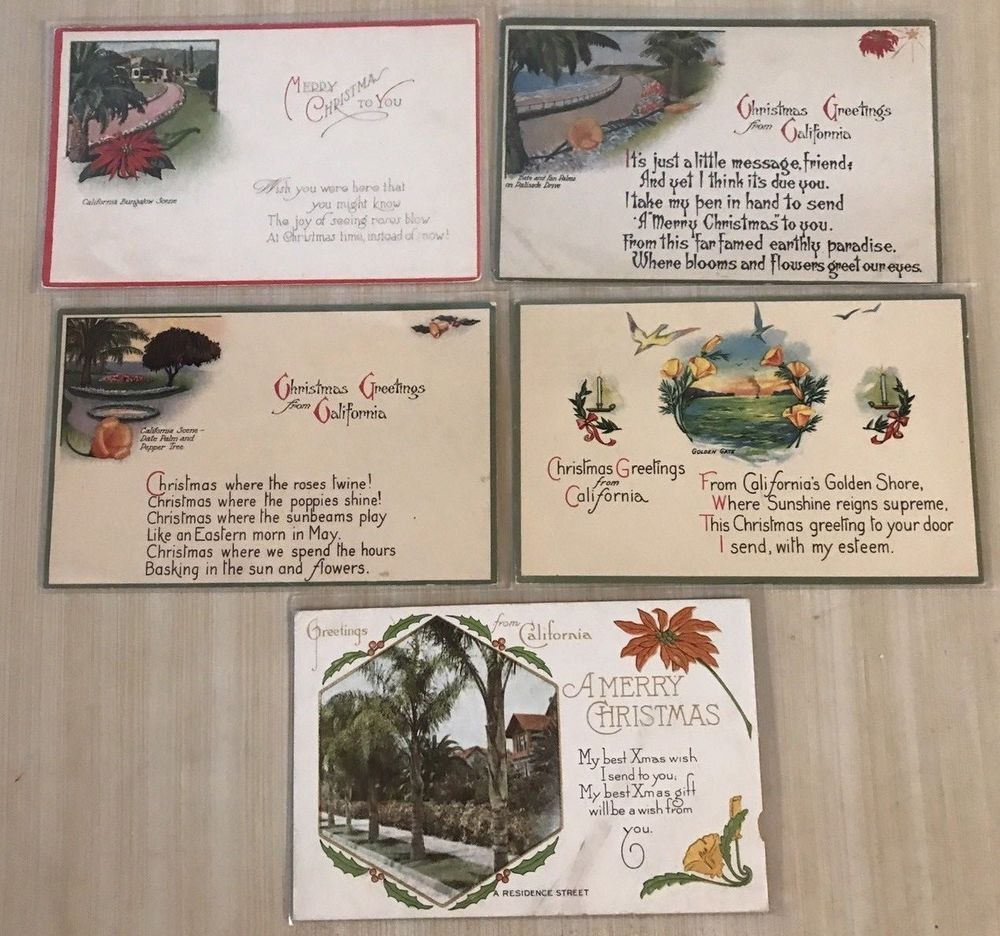 Lot of 5 Christmas Greetings from California Vintage 1900 Postcards ...