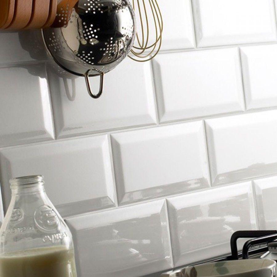 Blanco Biselado Gloss Glazed Ceramic Wall Tile 100x200mm   BATHROOMS ...