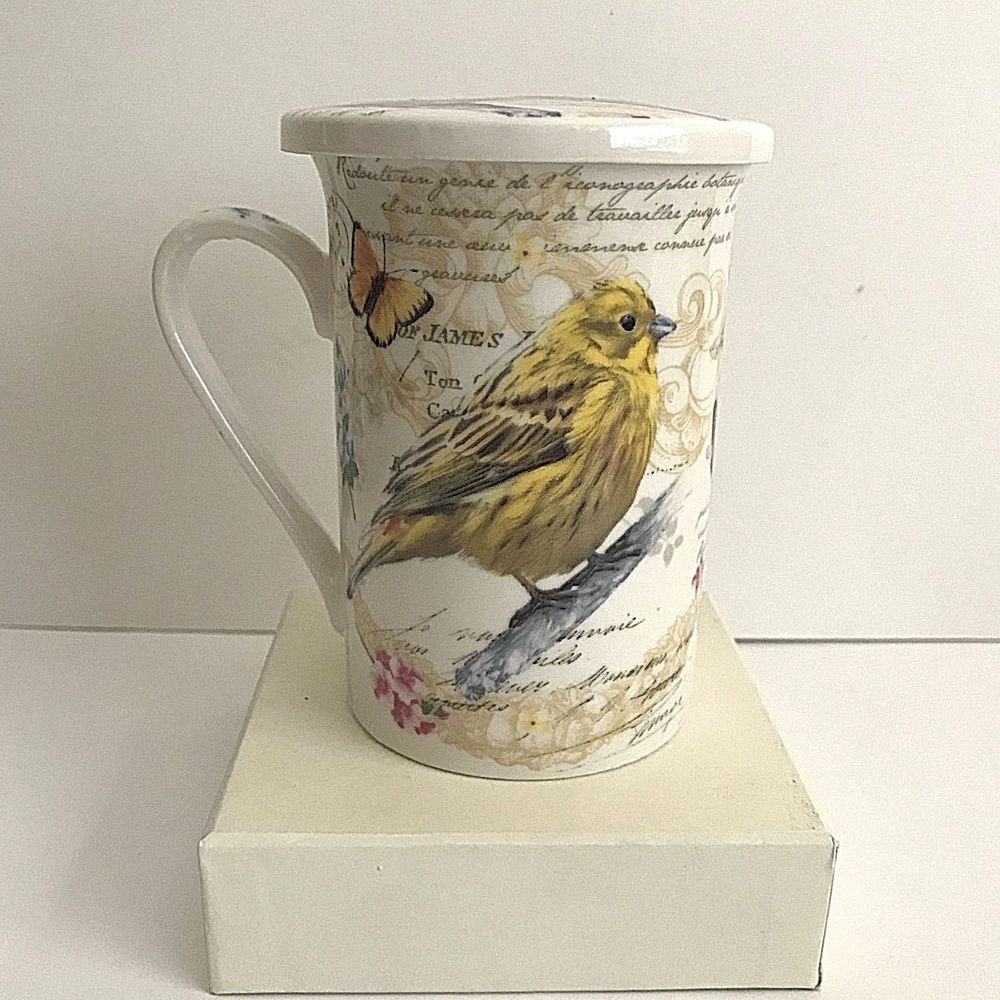 Kent Pottery Birds Butterflies With Lid Ceramic Coffee Cup