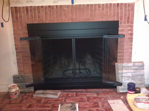 Pleasant Hearth Alpine Small Glass Fireplace Doors An 1010