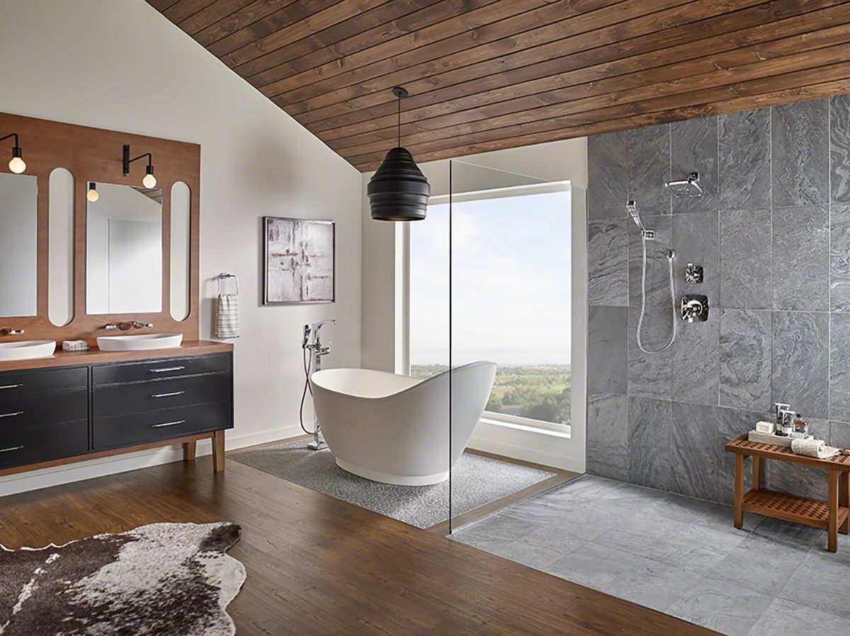 Want a larger looking bathroom without knocking down walls ...