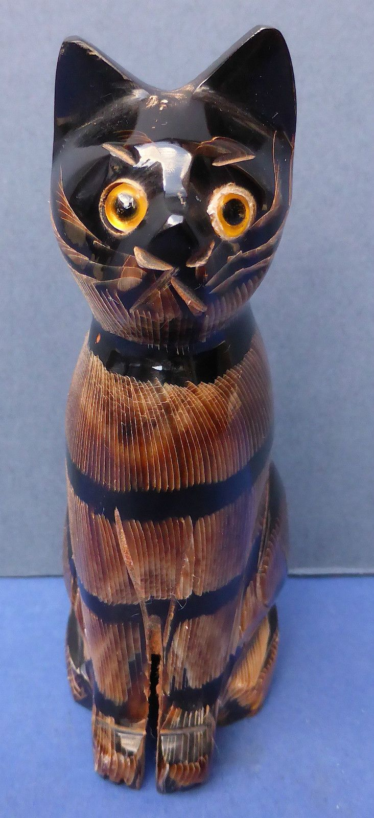 Lovely Carved Water Buffalo Horn Sitting Tabby Cat Thailand Glass Eyes   eBay