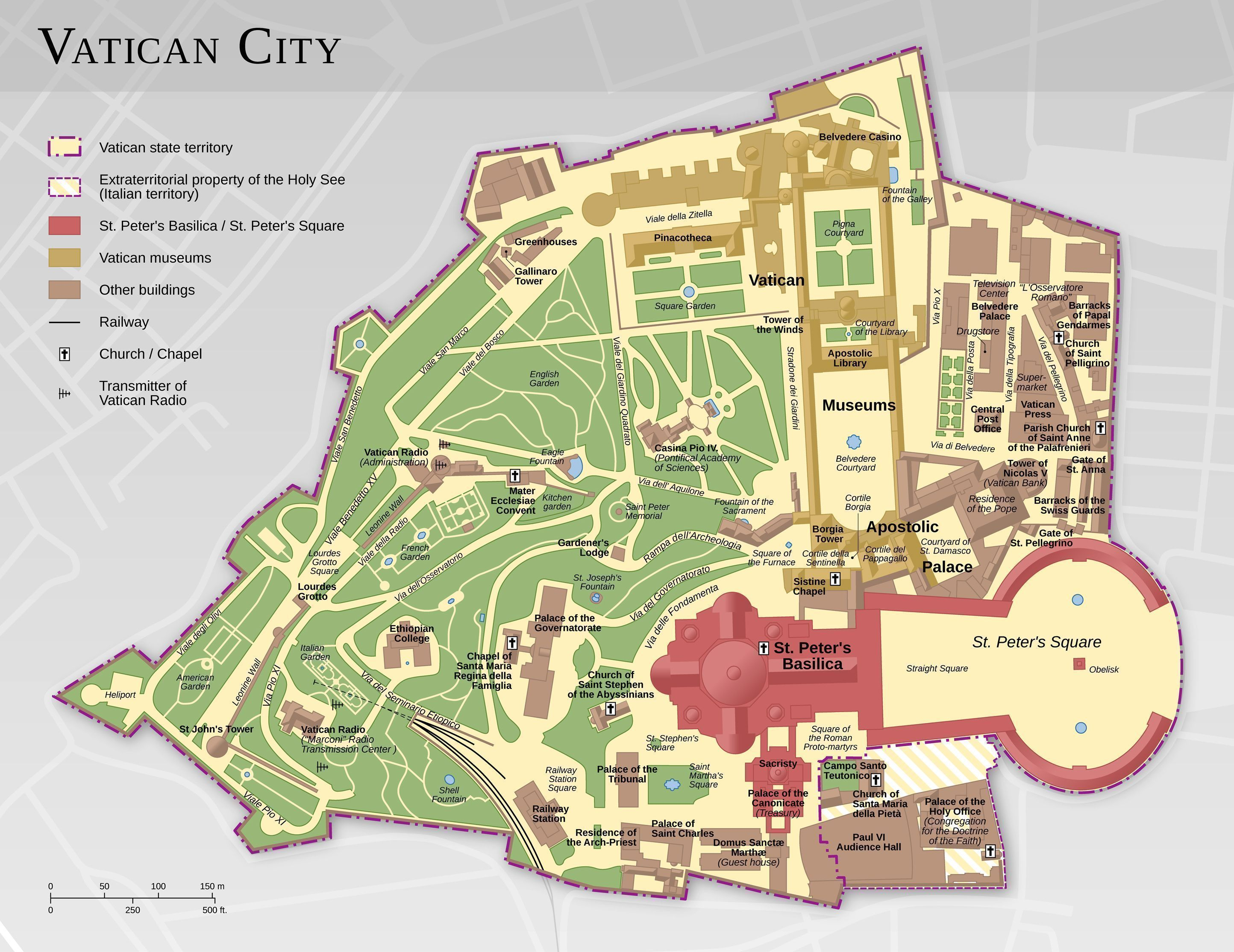 Detailed map of Vatican City, Rome, Italy The Tip of the Dragon's Tail #TheVatican