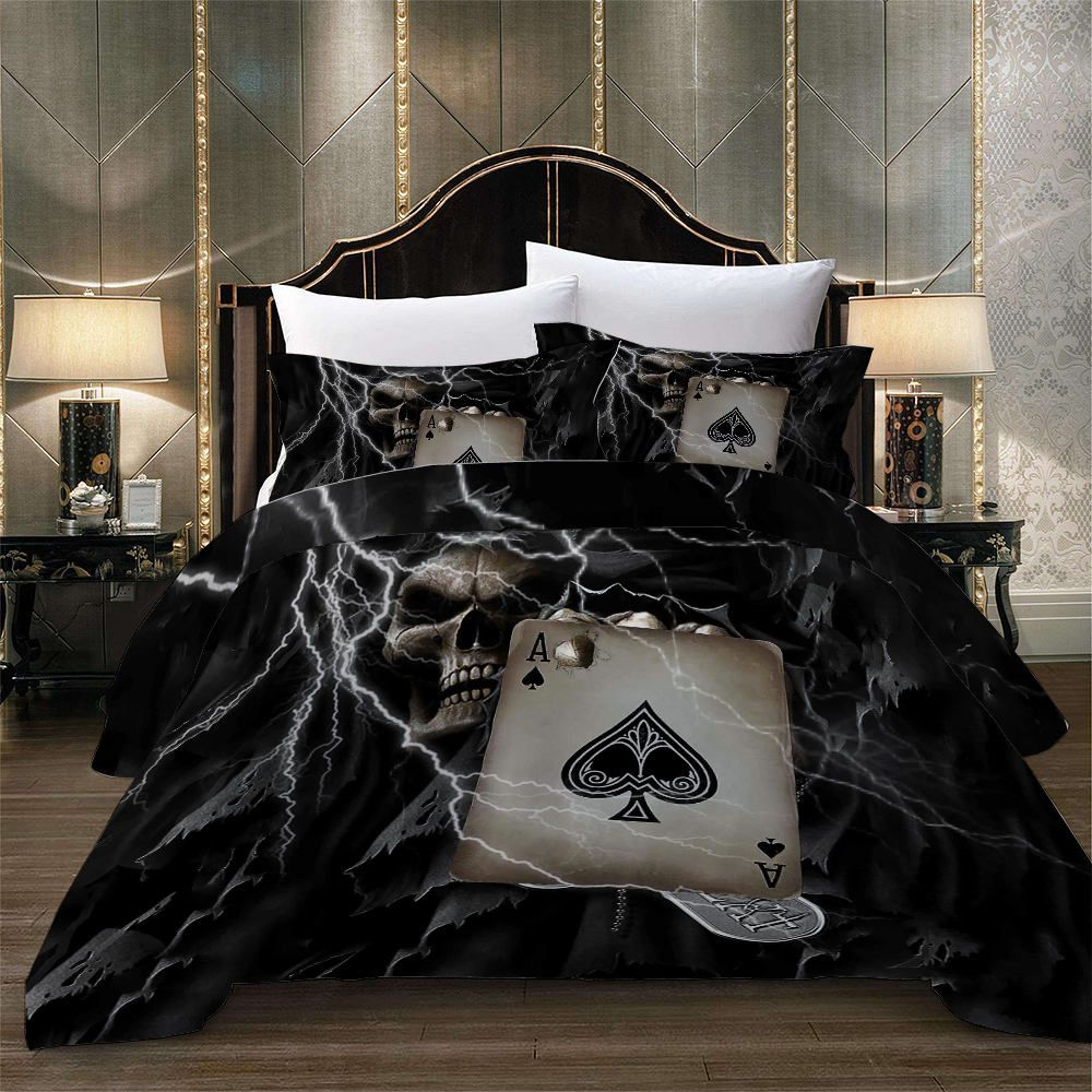 Spades Printed Bedding Set Queen Poker Lightning Grim Reaper Duvet