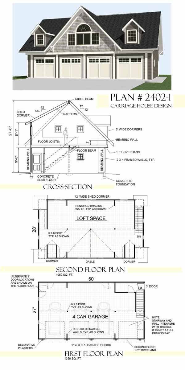 Garage plans by behm design carriage house plan 2402 1 for 2 story garage plans with loft
