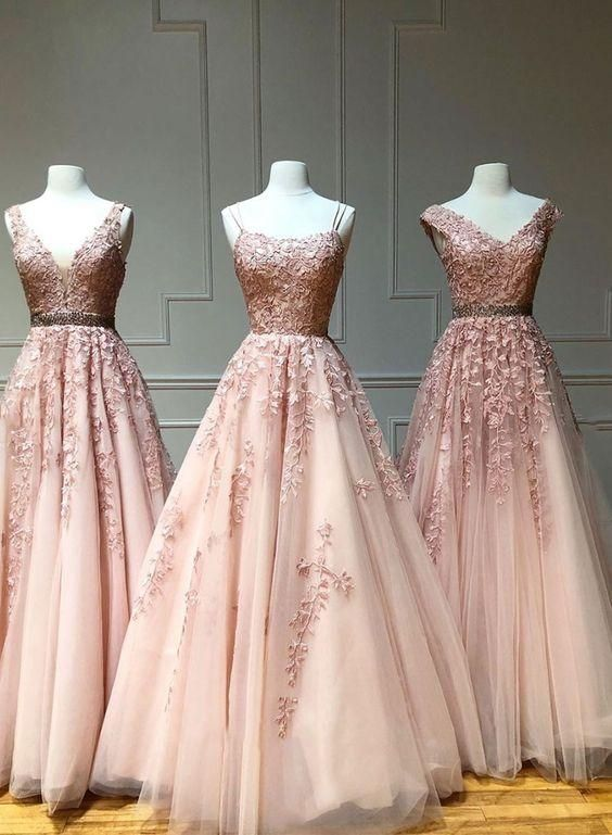 Pink tulle lace long prom dress, pink evening dress, formal dress cg4207 #promdresses