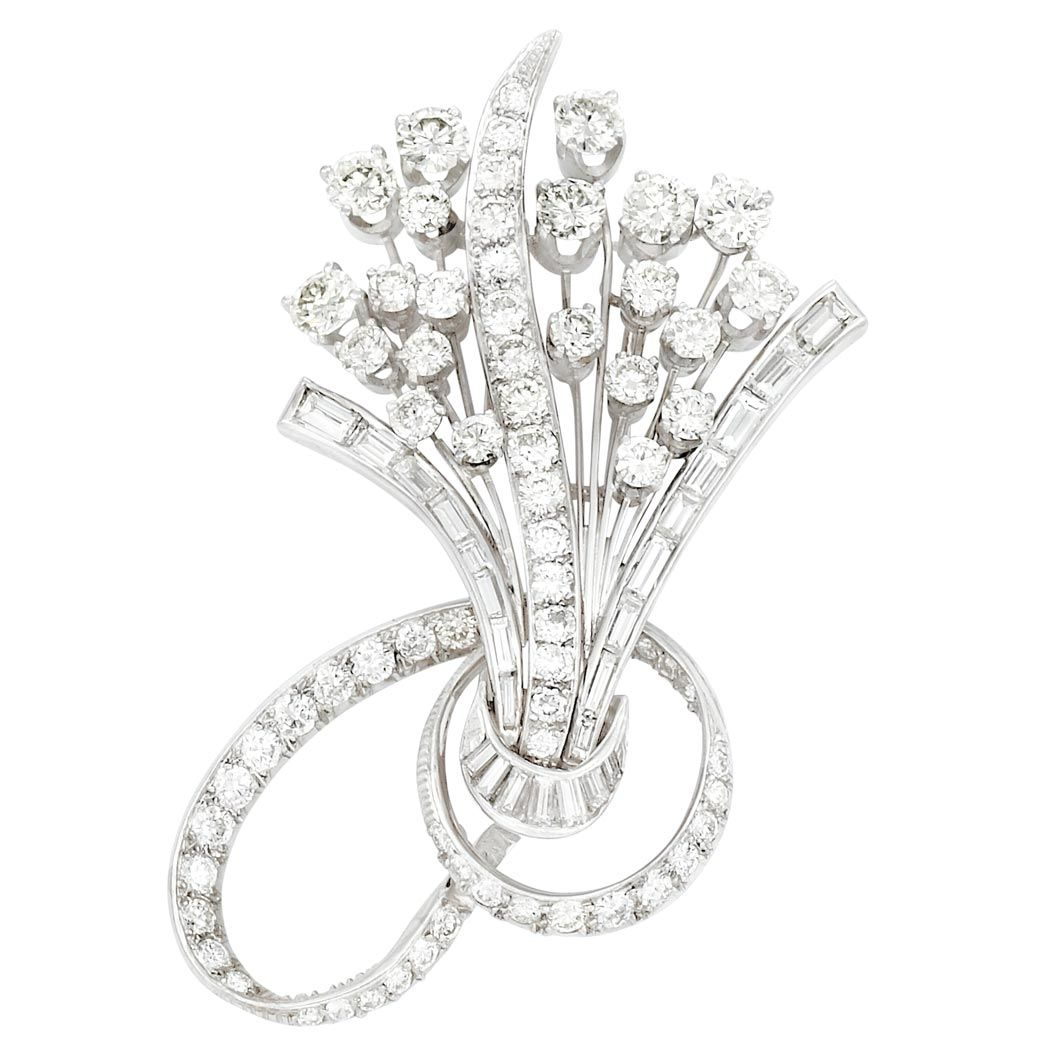 Platinum and Diamond Clip-Brooch The stylized bouquet