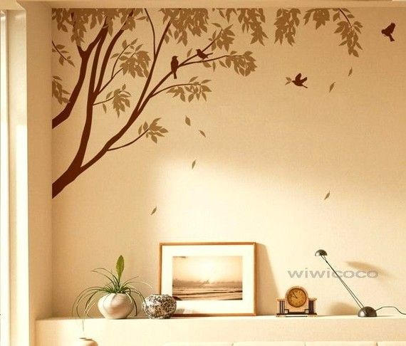 Tree wall art - Looks cute, but from far away also looks like birds ...
