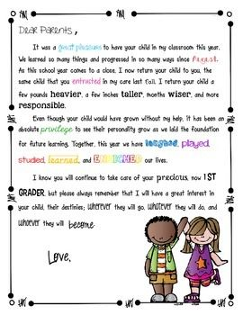 End Of The Year Letter To Parents End Of School Year Resources