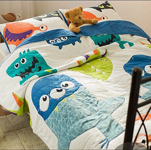 Brandream Cute Kids Quilted Bedding Set Cartoon Monster Print Comforter  Bedding Sets White Blue Summer Quilts Queen/Twin Size Bedspread Boys 100%  Cotton ...