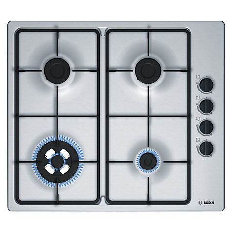 Buy Bosch PBH6B5B60 Gas Hob, Brushed Steel Online at johnlewis.com
