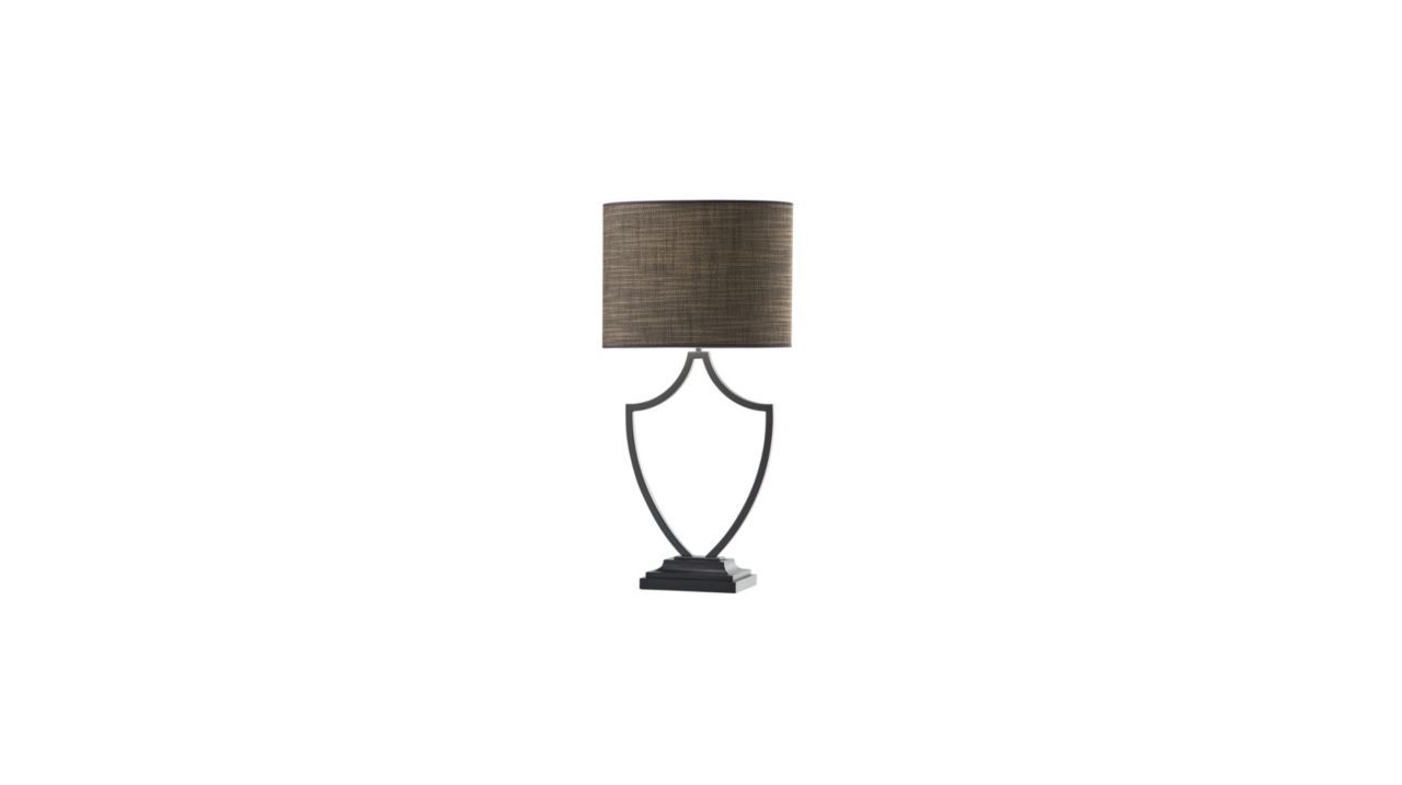 Ecusson Table Lamp Roche Bobois Br Dark Grey Metal Brown Wood Shade In Hessian Col