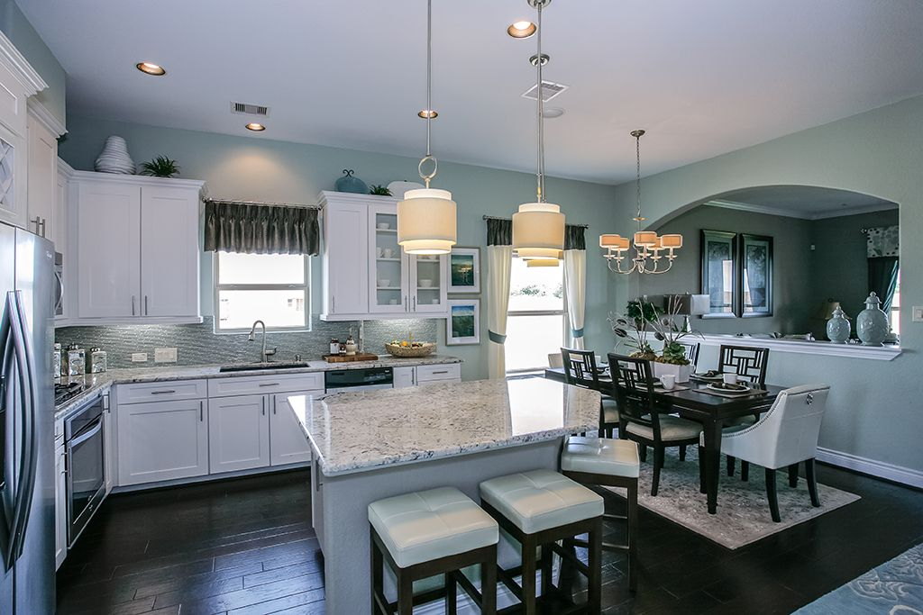 Dark Gray Kitchen Cabinets With Light Gray Walls Gehan Homes Kitchen - Light Blue Wall Color, White