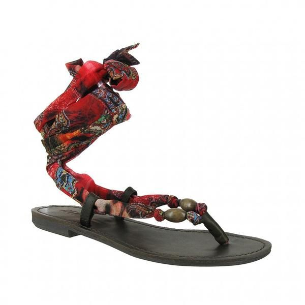 MIA Shoes | Drina Scarf Wrap Up Sandals - Red Paisley