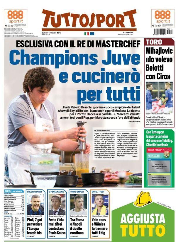 Prima pagina TuttoSport Champions Juve e cucinerò per