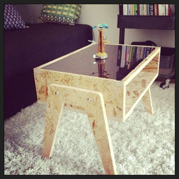 low osb white plexi table by mixwood on etsy osb pinterest mesas madera y carpinteria. Black Bedroom Furniture Sets. Home Design Ideas