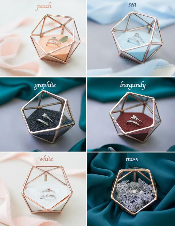 Ring-Box, Ring-Träger-Box, Glas Hochzeit Ring halter, Vorschlag Ring Box, geometrische Ring Kissen, geometrische Terrarium (JB17), Valentinstag
