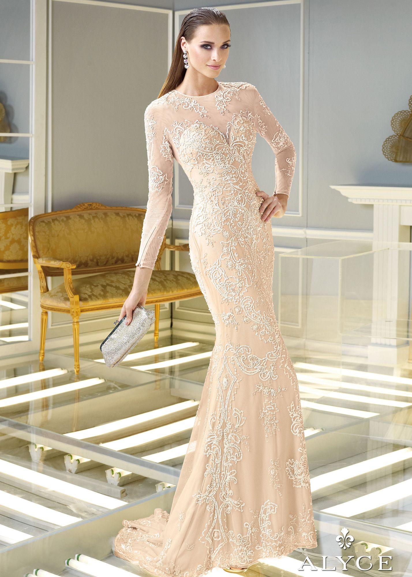 Claudine for Alyce 2289 - Champagne Beaded Sheer Mesh Prom Dresses Online 84c48926e