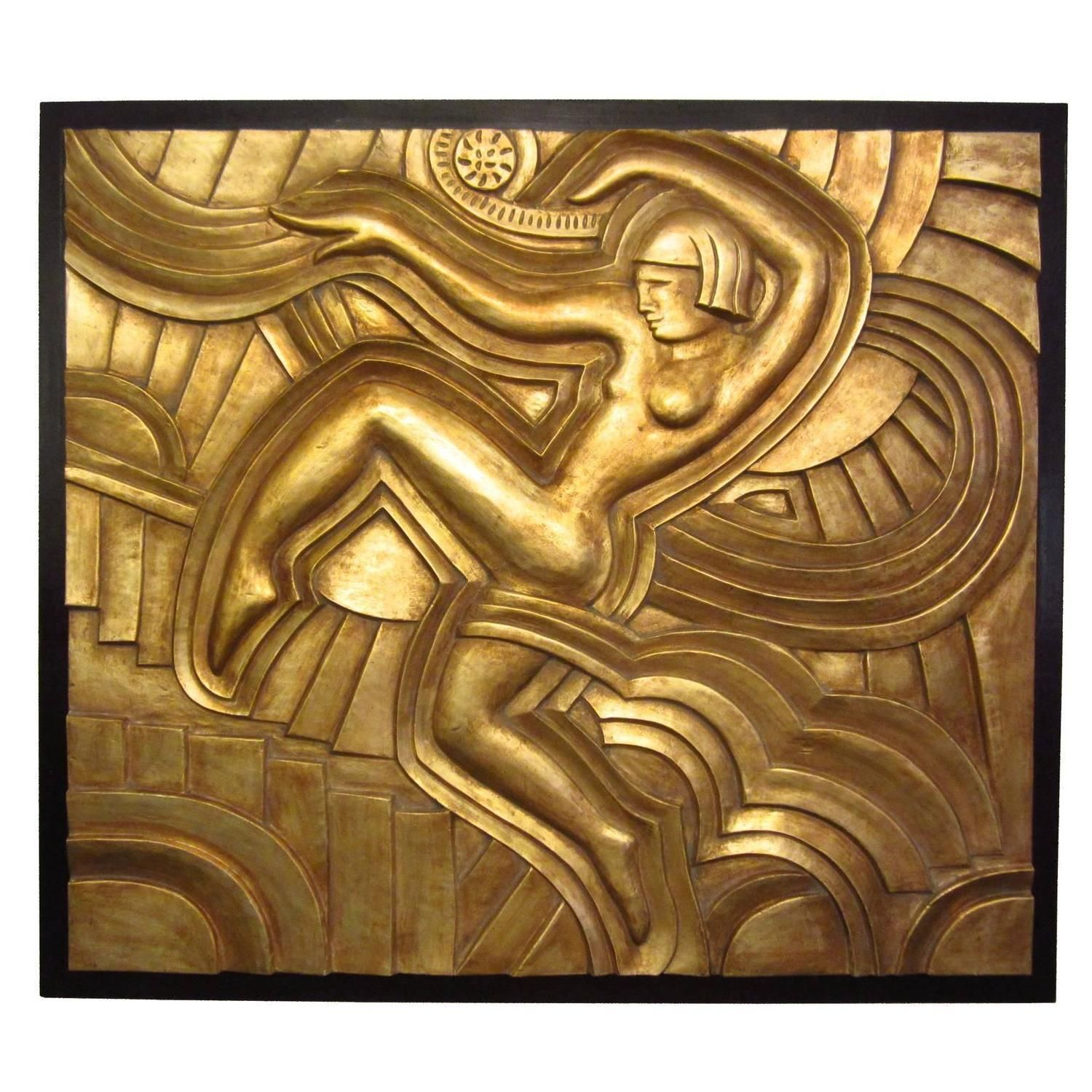 Art Deco Hand-Carved Relief in Gold Leaf | Hand carved, Art deco and ...