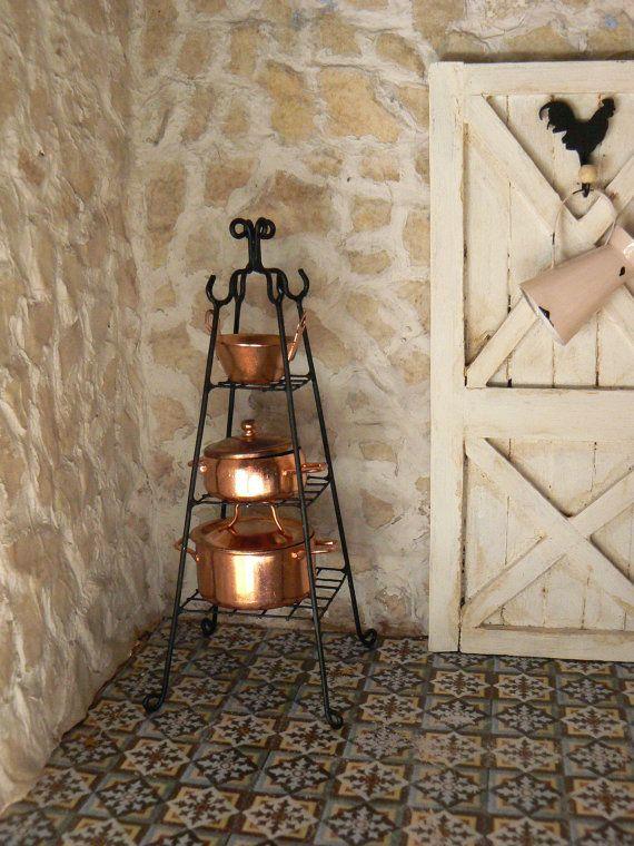 RESERVED FOR C---stehende Ablage - Schmiedeeisen - Puppenhaus - Miniaturen Hook Hahn und Henne