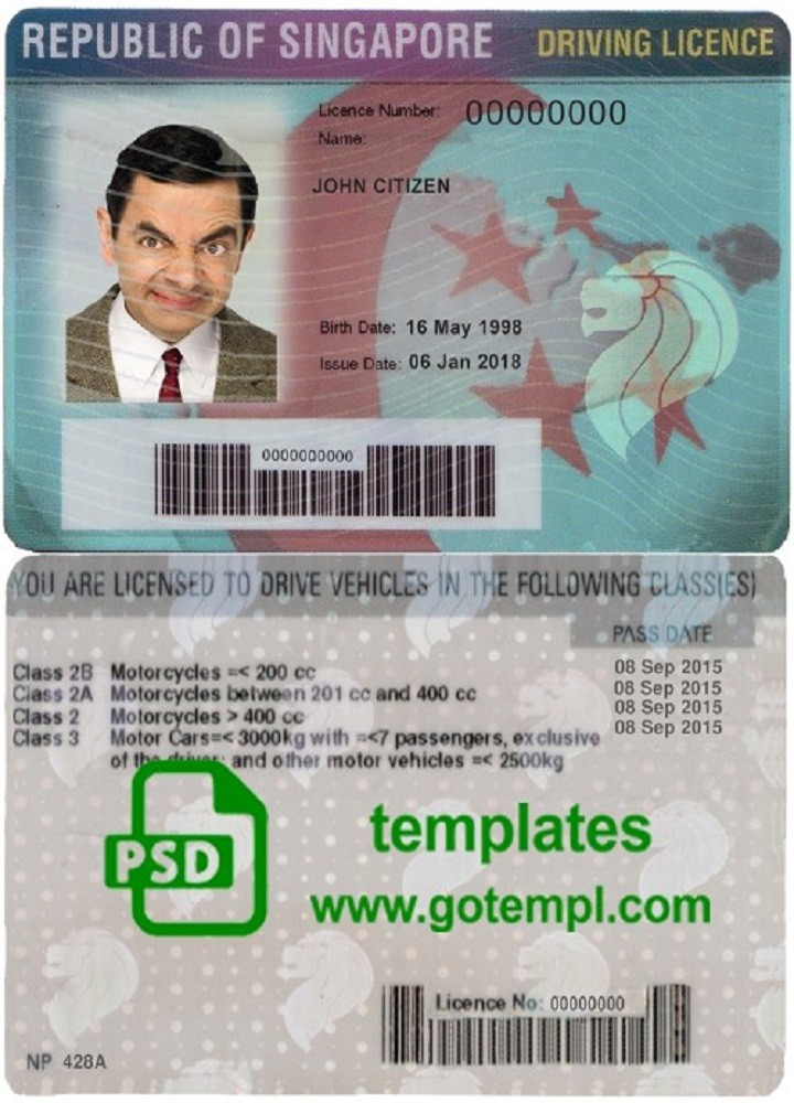 Singapore Driving License Template In Psd Format Fully Editable With All Fonts Driving License Driving Templates