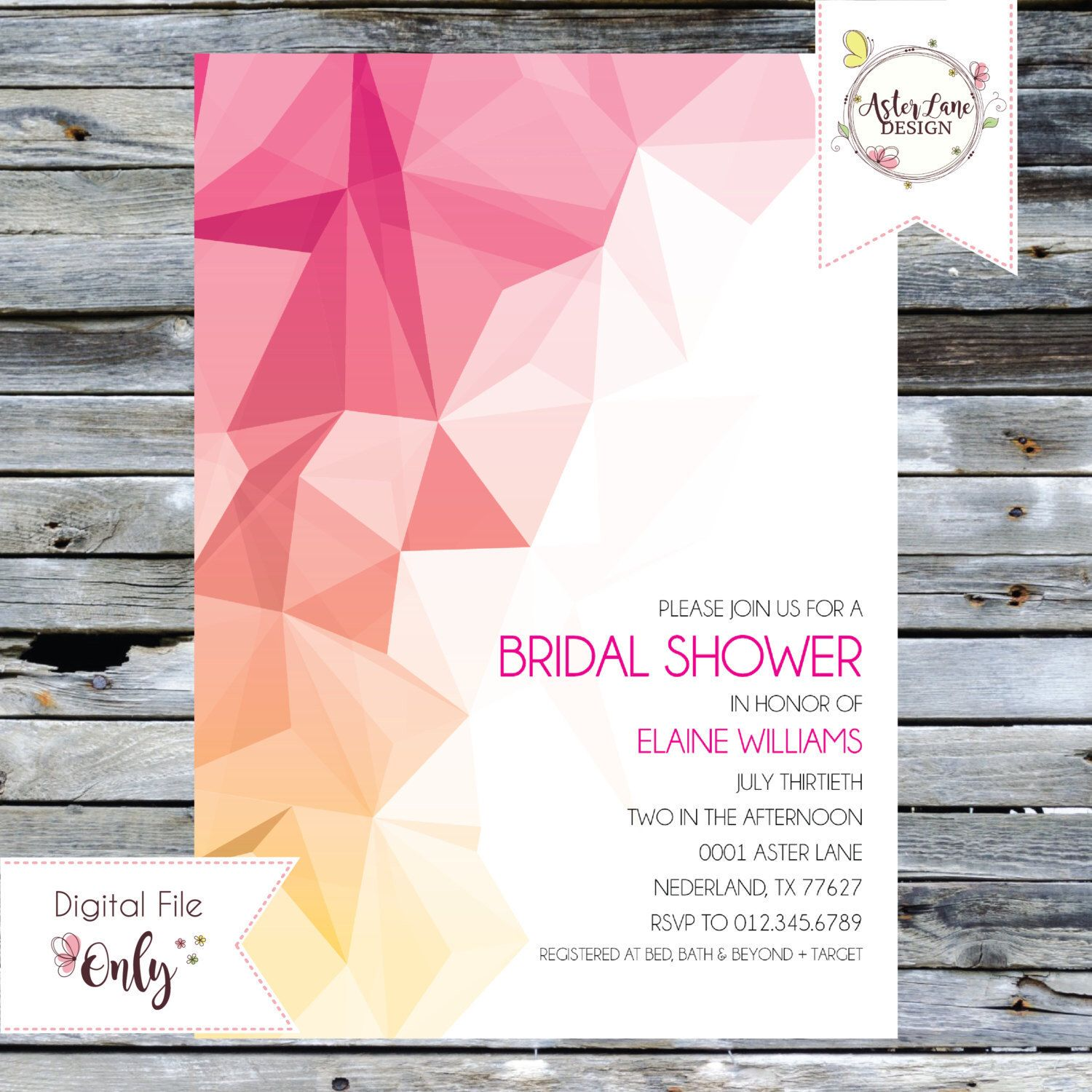 Bridal Shower Invitation // Colored Abstract Invitation // Personalized Printable Invitation by AsterLaneDesign on Etsy https://www.etsy.com/listing/421222699/bridal-shower-invitation-colored