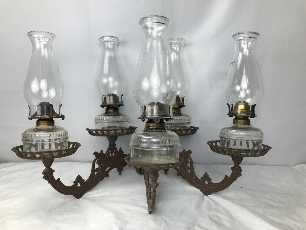 Details About Antique Victorian Cast Iron Oil Lamp Light