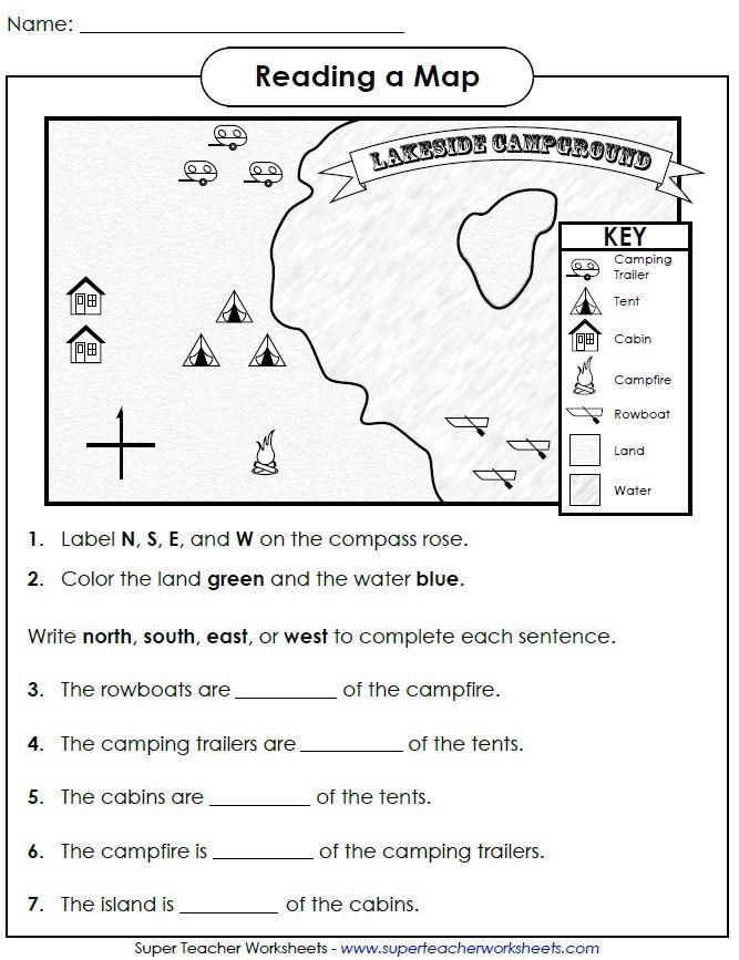 Printable Worksheets map worksheets for kids : cardinal-directions-camp.jpg 667×867 pixels | Homeschooling ...