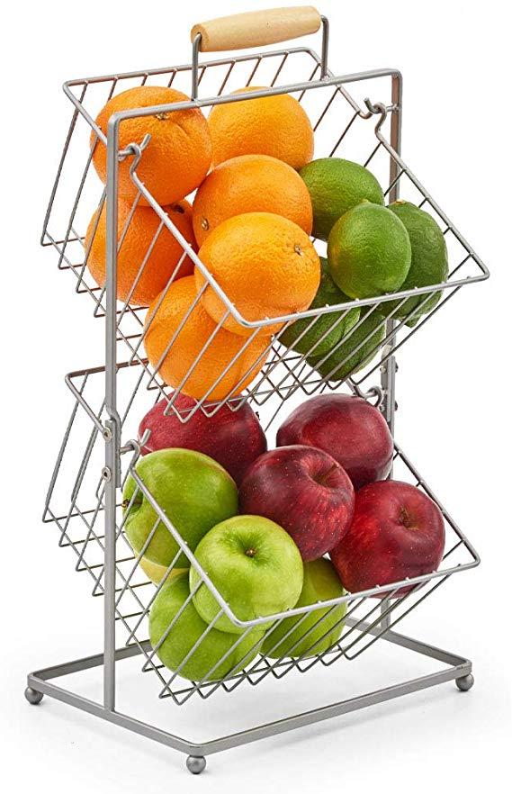 Amazon Com Ezoware 2 Tier Fruit Basket Stand Kitchen Market