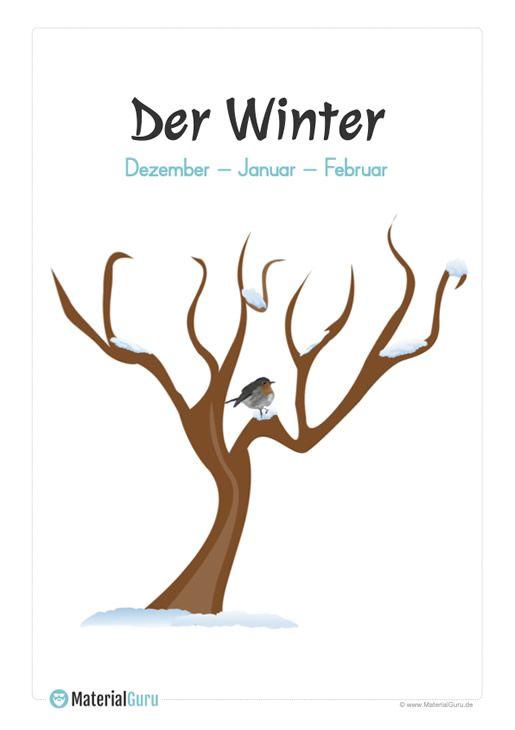 plakat jahreszeit winter  kostenlose arbeitsblätter zum