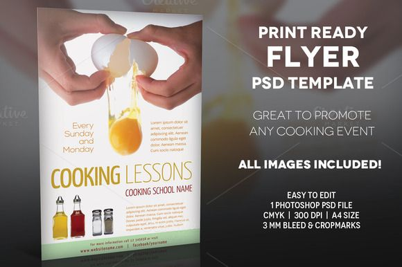 Cooking Lessons 2- A4 Flyer Template by Illusiongraphic on - harmony flyer template